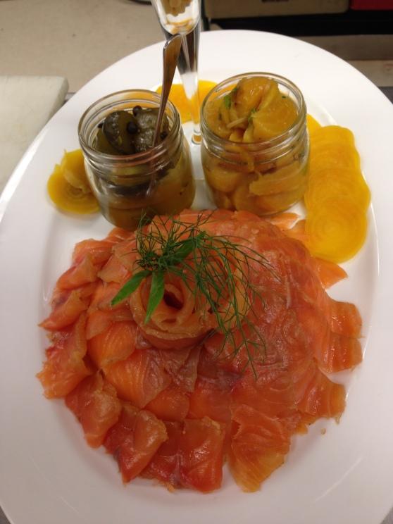 salmon beet platter